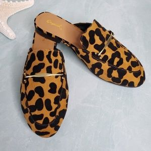 Qupid Shoes - Camel Black Leopard Mule Flats